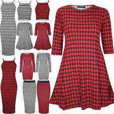 New Womens Ladies Dogtooth Strappy Crop Mini Midi Bodycon Skirt Swing Dress Top