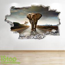 Adesivo Parete Elefante 3d Look-Camera da Letto Salotto Natura Animali adesivi murali z55