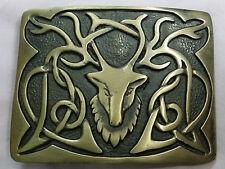New Kilt Belt Buckle Stag Head Brass Antique/Celtic Kilt Belt Buckles Stag Head