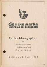 Göricke Teilzahlungsplan Motorräder Prospekt 1.4.52 Broschüre 1952 Deutschland