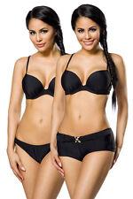 Push Up Bikini Set Höschen Panty Push-Up-Effekt 3 Teile Bademode schwarz 12029