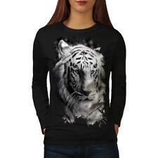 White Tiger Head Women Long Sleeve T-shirt NEW   Wellcoda