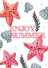 "Enjoy Summer Flag Décor Yard Decor Banner 12X18""or 28X40"" Garden Five Stars 1719"
