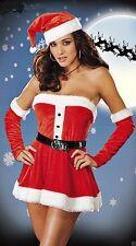 LADIES FATHER CHRISTMAS SANTA CLAUS PIXIE COSTUME XMAS SIZE 6-14