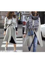 Zara Light Grey Wool Coat with Wraparound Collar Size S,M