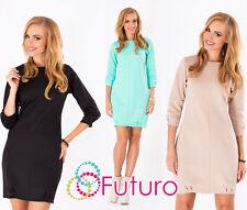 Women's COCTAIL Shift Dress manica a 3/4 Tunica Girocollo Formale Taglie 8-14 FA319