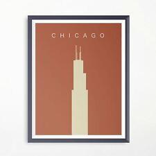 Chicago Willis Tower Minimalistic Travel Poster Print Artwork Advertising