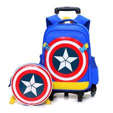 Kid Captain America Shield Wheels Backpack Luggage Rolling Book Pack Trolley Bag
