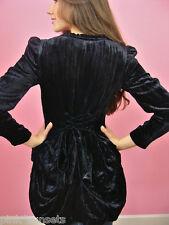 Betsey Johnson Black Crushed Velvet Bustle Jacket Silk $385  4 6