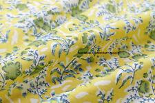 Indian Hand Block Handmade Cotton Natural Sanganeri Print Fabric 5 Yards