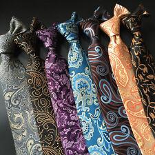 Men Fashion Wide 8cm Jacquard Necktie Paisley Floral Polyester Wedding Party Tie