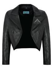 Women Cropped Jacket Open Shrug Bolero Blouse Real Leather Short Jacket 5650