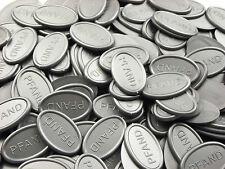 Pfandmarken Wertmarken Getränkemarken oval - silbergrau-metallic  Mengen wählbar