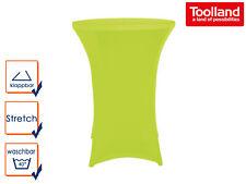 STEHTISCH klappbar Ø 80cm weiß mit grüner Stretch-Husse, Partytisch Bistrotisch