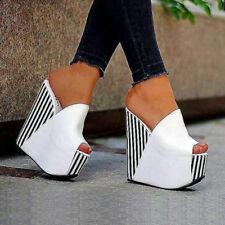 Women Sandals Wedge Platform Striped Pumps Faux Leather Ladies White Shoes Ske15