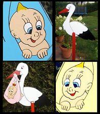 Klapperstorch Adebar Storch zu Geburt, Hochzeit mit Baby aus Holz