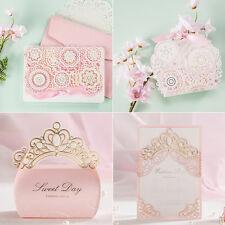 Pink Theme Crown Laser Cut Wedding Favour Bags Boxes Invitations Cards Envelopes