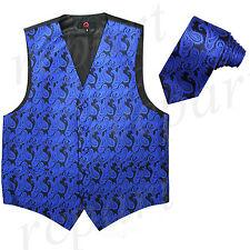 New Brand Q polyester men's Paisley Vest Tuxedo Waistcoat_Necktie Royal blue