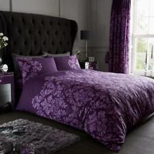 NEW Purple Damask Reversible Printed Bedding Bed Duvet Set All Sizes