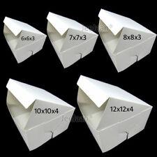 FOLD FLAT WHITE SQUARE CARDBOARD CAKE BOXES / CUPCAKE BOX - VARIOUS SIZES