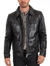 BRAND NEW 100% Leather Jacket Coat Slim Mens Outwear Black Biker Jacket SS2