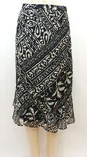 New! Alfred Dunner Black Tribal Print BELIZE Ruffle Skirt Sz 16