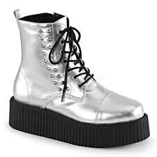"New Demonia 2"" Silver Platform Studded Spiked Creeper Boots Goth Punk Men's 8"