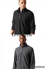 $50 Men REEBOK Fleece 1/4 Zip Delta Canton Training Jackets BLACK- GRAY M L XXL