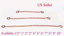 Rose Pink SOLID STERLING SILVER Extender Safety ROPE Chain Necklace Bracelet