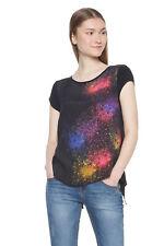 Desigual Black Berlina Space Effect Blouse XS-XXL UK 8-18 RRP£54 Longer Back Tee
