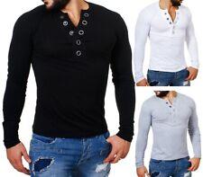 Carisma Herren Longsleeve T-Shirt langarm Knopfleiste mit großen Knöpfen 3013