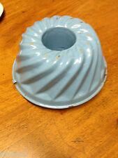 Blue and White Enamelware Pudding Mold Bundt Pan w Swirl Design ~ Vintage