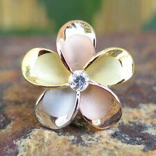 925 Silver Tri-color Gold Plumeria Flower CZ Wedding Ring Band 22mm #SR6268