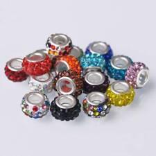 10pcs 12x7mm Rhinestone Pave Loose Big Hole Beads European Charm Bracelet