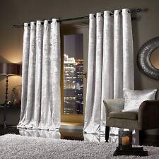 WHITE Plush Crushed Velour Faux Velvet Pencil Pleat / Eyelet Ring Top Curtains