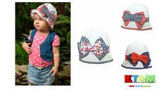 Girls Summer 100% Cotton Beach Hat Cap Bush/Boonie with bow 12months to 4 years