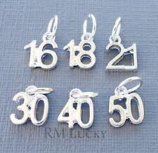 Number Age Pendant Dangle Bead Fits European charm bracelet/necklace C131