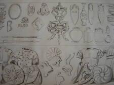 Gravure Ustensiles Vases antiques  Casques et Boucliers