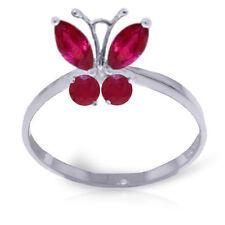 Véritable Rubis Rouge Pierres Précieuses Bague Papillon Solide 14K. Jaune,Blanc