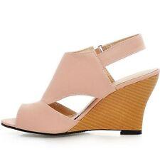 Sandali ciabatte donna rosa simil pelle zeppa 9 cm  eleganti e comodi 9225