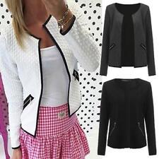 Plus Size Women Zipper Long Sleeve Short Jacket Biker Casual Coat Outerwear Tops