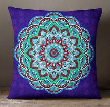 Housse de coussin S4Sassy Mandala bleu imprimé oreiller affaire jet décoratif