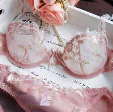 Women Floral Sheer Lace Bra Sets Unpadded Underwire Sexy Lingerie Set  Plus size