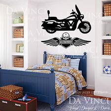 Motorcycle Chopper Skull Wings Wall Custom Boy Name Vinyl Wall Decal Sticker
