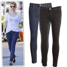 New black blue polka dot print low rise cropped skinny jeans