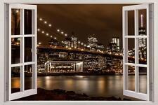 Brooklyn Bridge New York Night 3D Window View Decal WALL STICKER Decor Art H58
