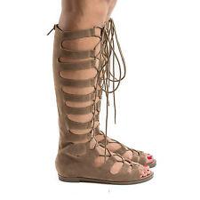 389135364e3f Rita71 Knee High Gladiator Corset Lace Up Flat Open Toe Sandals