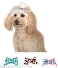 Lot Pet Dog Grooming Bow Satin Ribbon Elastic 100 pc GINGER HAIR BOWS -3 Designs