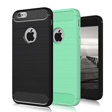 Schutzhülle für Apple iPhone 5 5s SE Carbon Brush Tasche Cover TPU Slim Schwarz