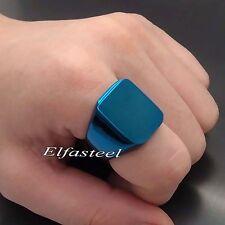 Men's Boy's Blue / Black High Polished Signet 316L Stainless Steel Ring